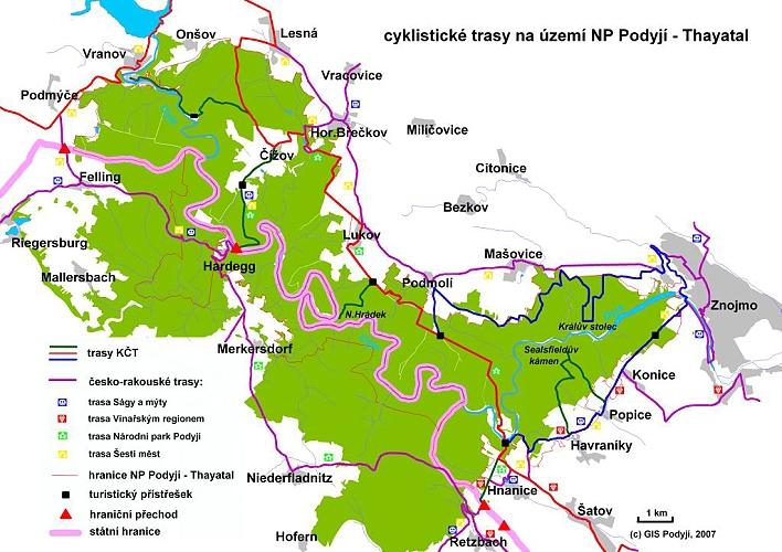 Cyklotrasy národní park Podyjí, Vranov nad Dyjí