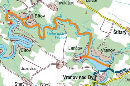 Lodní doprava Vranov - mapa
