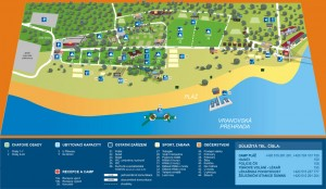 Camp-Pláž - mapa campu